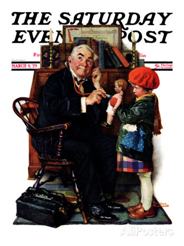 ノーマン-ロックウェル-doctor-and-the-doll-saturday-evening-post-cover-march-9-1929
